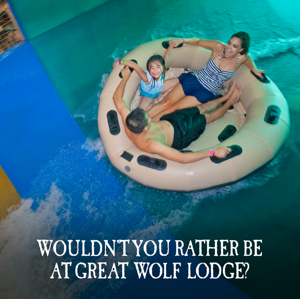 Retweet if you'd rather be at Great Wolf Lodge! http://t.co/FJYLxdy5K4