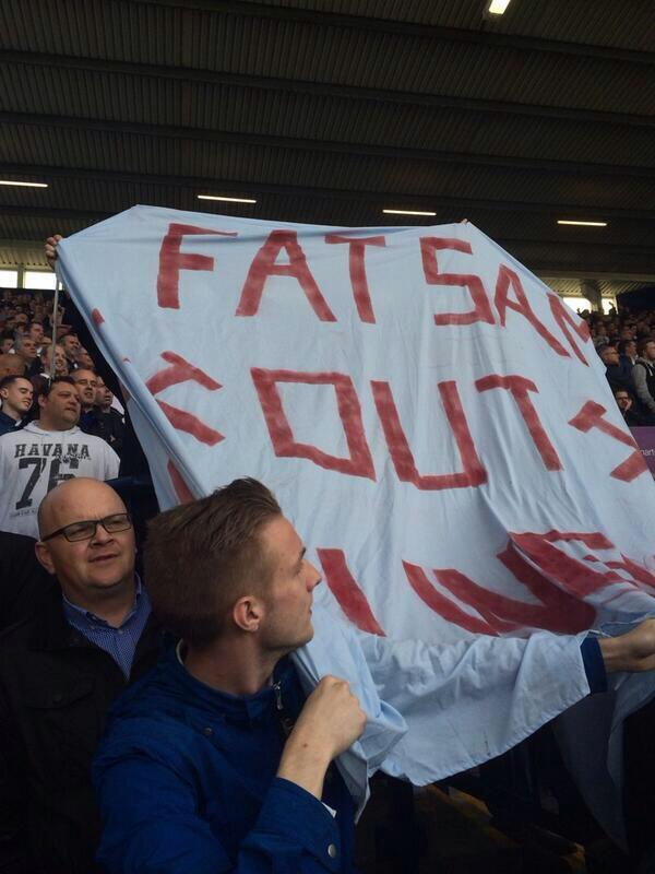 West Ham fans unveil a Fat Sam Out banner in the defeat at West Brom [Pictures]