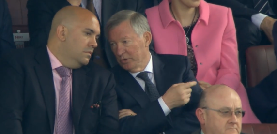 Sir Alex Ferguson sat next to the agent of Toni Kroos, Marco Reus & Mario Gotze during Man United v Norwich