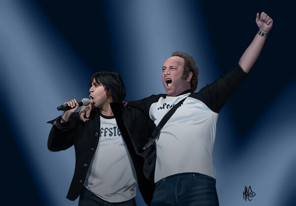 """@MattAllenNerd: This is an old painting I did of @Vik__Sahay and @Scott_Krinsky as Jeffster!! http://t.co/9izDKMXMp3"" Realism! Awesome!"