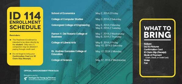 ID 114! Here's your enrollment schedule along with a few tips to help you! Animo La Salle! #DLSUSantugonFroshTips http://t.co/UDpCykO3zI