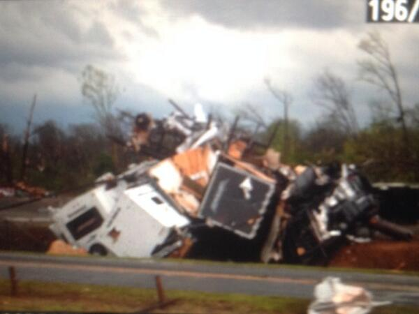RT@JonDopplerWX: Cars flipped and thrown together off of I-40 near Mayflower, AR... Photo from Ryan Noon. #arwx http://t.co/WzWsWlIxA6