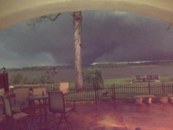 Wow! Pic from Kelly Lincicome of Vilonia, Arkansas tornado crossing the Arkansas River. #Arwx #ast http://t.co/RE6DuPJ5mZ