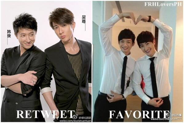 POLL: FRH - SJM Collaboration Retweet - Wu Chun & Han Geng Favorite - Calvin Chen & Zhou Mi http://t.co/vRxoYNLF34