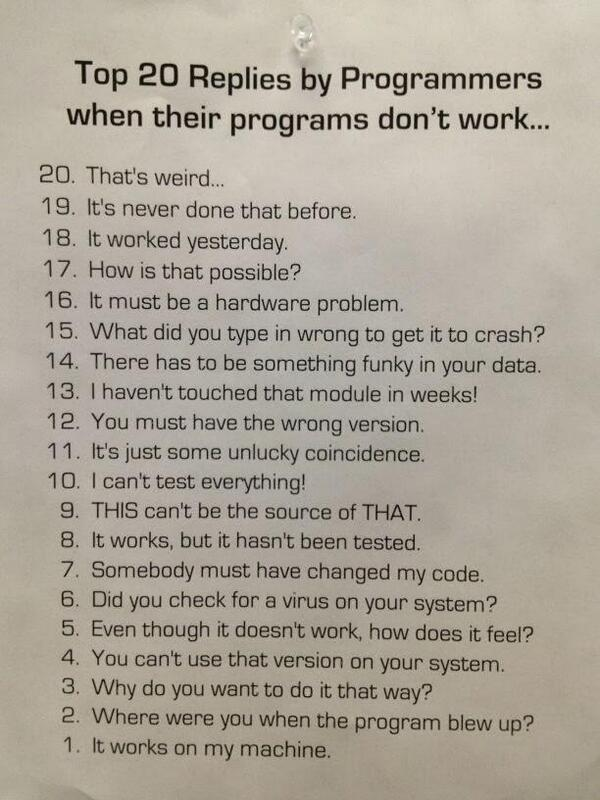 Top 20 things programmers say when their code/programs aren't working right... accurate :-) #gamedev http://t.co/O2fyjAneGy
