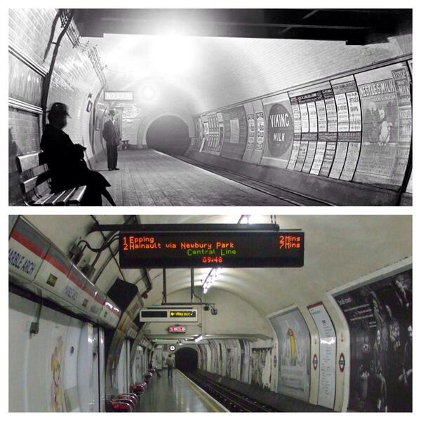 Same London Underground station, 100 years apart http://t.co/9wJ9V3Cl7Y
