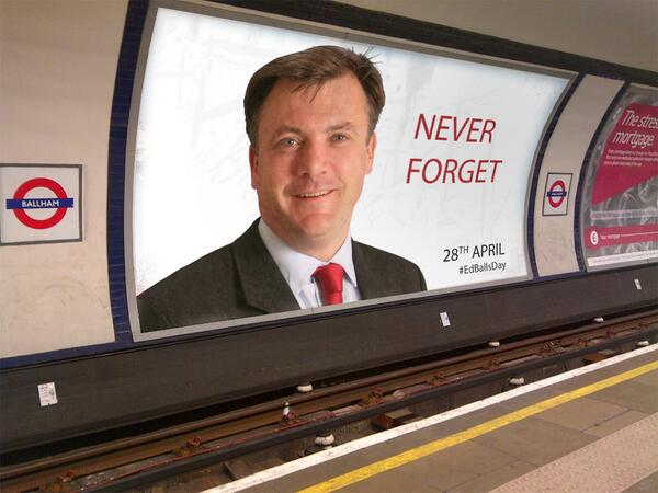 Just spotted this at Balham. Cheeky but fair play. #EdBallsDay http://t.co/rN6Rm5fiQN