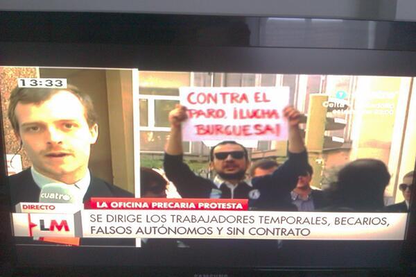 Gradíiiiiiiiisima la intervención de la #MareaNeoliberal y la @OfiPrecaria en Cuatro. http://t.co/Dfehdlbozp
