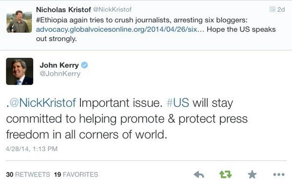 .@JohnKerry, en route to #Africa, replied to @NickKristof on #Ethiopia's arrests of several bloggers & a journalist. http://t.co/ieb9JystwU