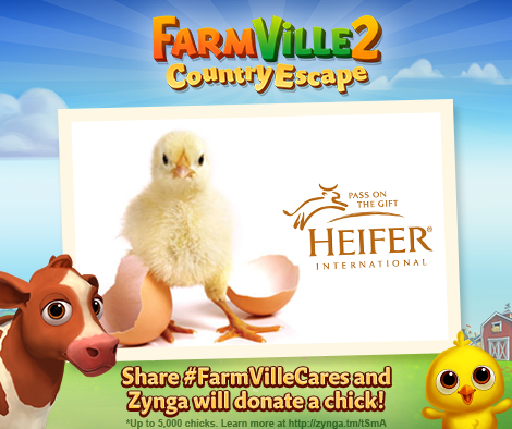 Today @Zynga will donate 1 chick for every RT of this tweet. Please help us reach our goal of 5,000. #FarmVilleCares http://t.co/b8Ws4a6d7A