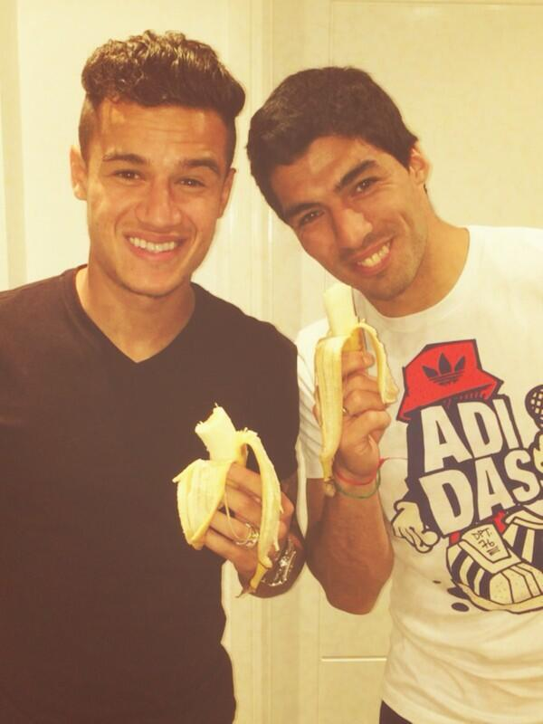 Best tweets as Liverpools Luis Suarez ironically poses with a banana for an anti racism message