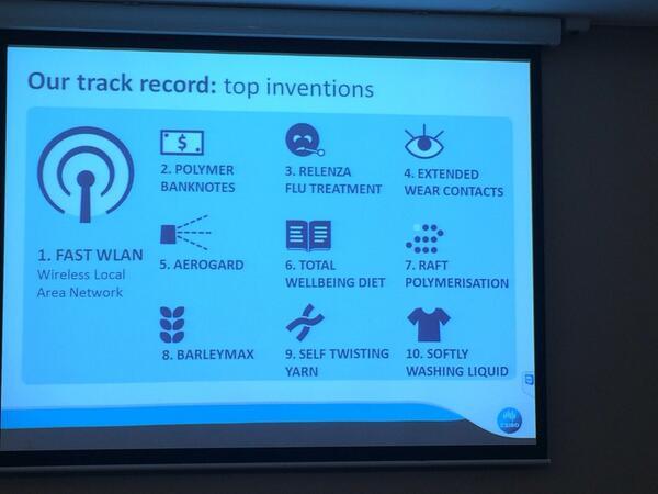 """@craigthomler: RT @OnTapMarketing: @CSIROnews ...  #nco14"" CSIRO #invention .Save our #science #Budget2014 #auspol"