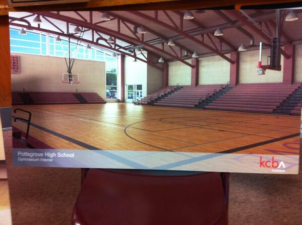 At #Pottsgrove School Board meeting on opening bids on HS renovation. Pictured is rendering of new gymnasium. http://t.co/DUzeZfXoJw