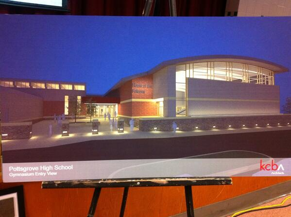 """Architect Mike Kelly says """"tonight is the night we commit to spending the money."""" Pic: rendering of gym's exterior. http://t.co/iiTlcvNFOk"""