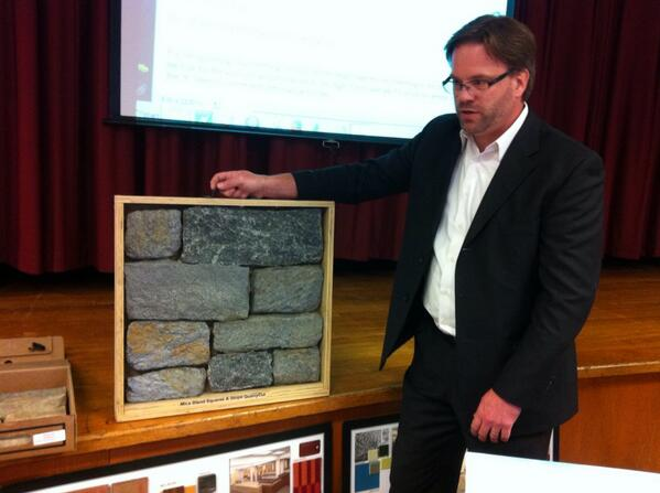 Jim Keefer, KCBA architects, says 1 alternate ($15,000) would have outside gym wall covered w/ real stone show here http://t.co/DHc4tCOCMj