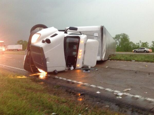 18 wheeler overturned blocking SR45 south at Crawford, MS http://t.co/mBxAQqPcR2