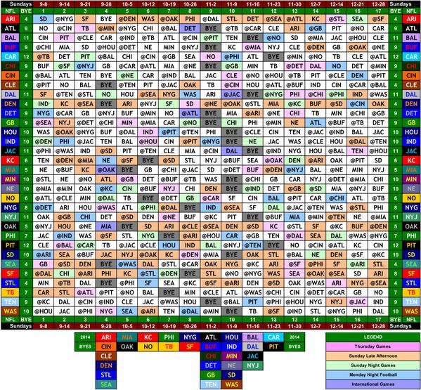 "NFL Retweet on Twitter: ""2014 NFL Schedule Grid http://t.co/vEHOujA9h9"