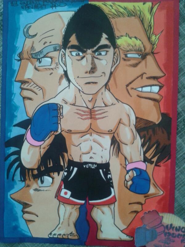 My last drawing, a fan art of manga Hajime no Ippo custom @PrideFC_Video @Venumfight by a French artist @Vincenthury
