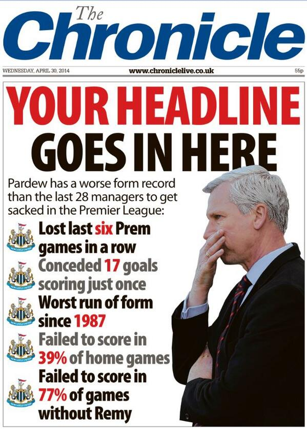 Newcastle Chronicle ask readers to take headline blows at Alan Pardew in a brutal front page [Picture]