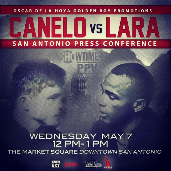 Mañana @caneloOficial vs @Lara boxing press conf hosted by @OscarDeLaHoya @jesselechuga 12 noon market square! http://t.co/Bdahfld6hW