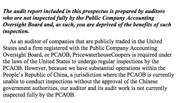 Beware: Alibaba isn't audited the way a US company is audited. http://t.co/Dm9n7txtXM