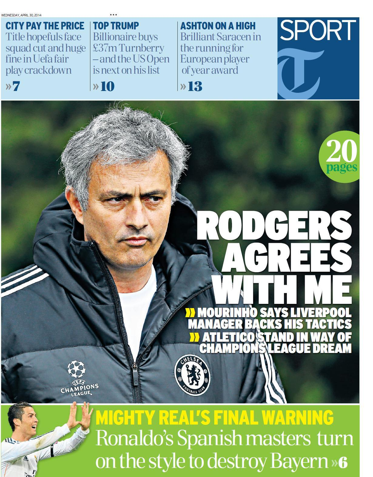 Jose Mourinho forgives Liverpool boss Brendan Rodgers for deriding his tactics [Wednesday Papers]