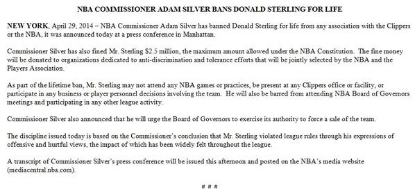NBA Commissioner Adam Silver Bans Donald Sterling For Life http://t.co/pDbBcs7KHn