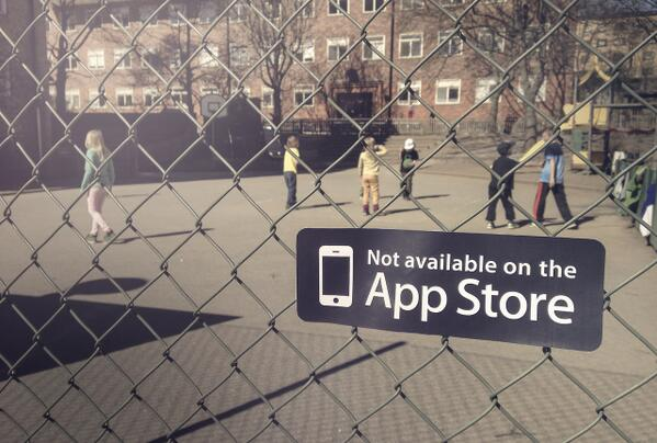 """""""Not available on the App Store"""" stickers remind everyone about the merits of real life. http://t.co/bNkitjap0H http://t.co/CsrMwc4mc8"""
