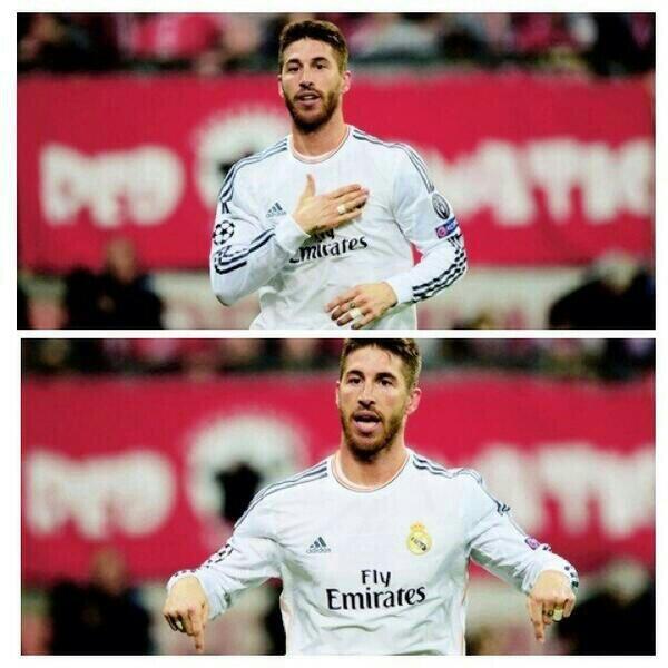 Ramos haciendo un CR7, YO ESTOY AQUÍ. http://t.co/p2pycM6IAB