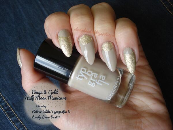 Almond Nails On Twitter Beige Gold Half Moon Design Very Elegant Manicure Http T Co 58oaka1gnl Nailart Naildesign