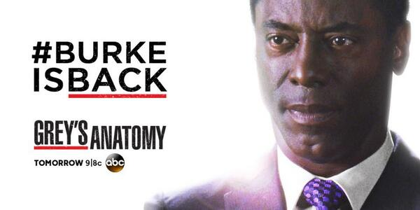 #BurkeIsBack. Find out why tomorrow on an all-new #GreysAnatomy! http://t.co/oCY8EMxd3o