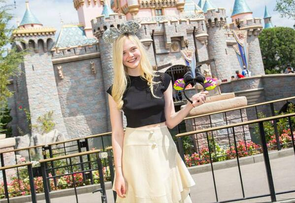 Elle Fanning at Sleeping Beauty's Castle