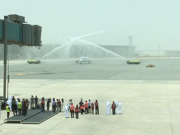 The @qatarairways ceremonial flight has landed at #HIA. @dohanews http://t.co/qNnCFXBEC4