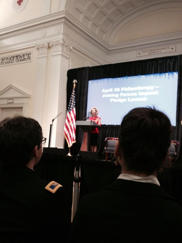 American Red Cross Chair Bonnie McElveen-Hunter welcomes #pledgeforvets #joiningforces http://t.co/GDayJjnqPC