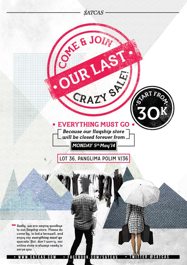 Come and enjoy our last sale at LOT 36! everything must go, starts from 30k! say goodbye to our store guys! http://t.co/plU9cq1UYQ