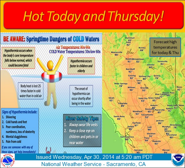 Warmest temps so far this year expected today! Melting snow will bring cold water to area lakes and rivers. #cawx http://t.co/CoHhYtVGpM