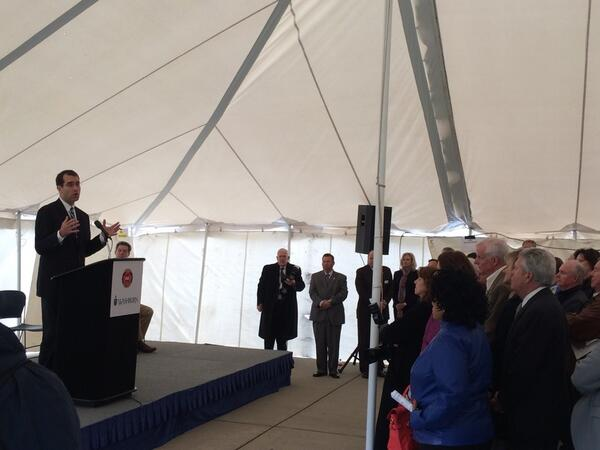 AG Schmidt speaking to a large crowd gathered for the groundbreaking of the new KBI crime lab. #KBIatWashburn http://t.co/WMOLBQuJRN