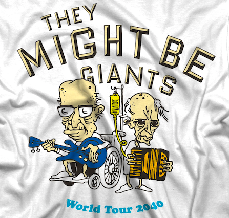 World Tour 2040 shirt, depicting JF bald and in a wheelchair and JL hooked up to an IV.