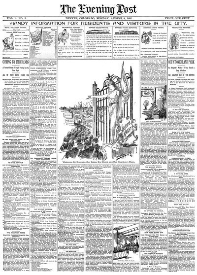 The very first @denverpost front page, Aug. 8 1892! Explore high-res here: http://t.co/mrbKZszToA http://t.co/YLtDWZdWXa