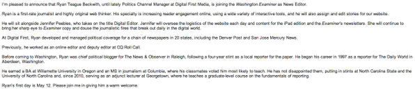 Welcome to the @DCExaminer, @ryanbeckwith! Memo from our editor, @SGSmithExaminer http://t.co/XEree0zFrV