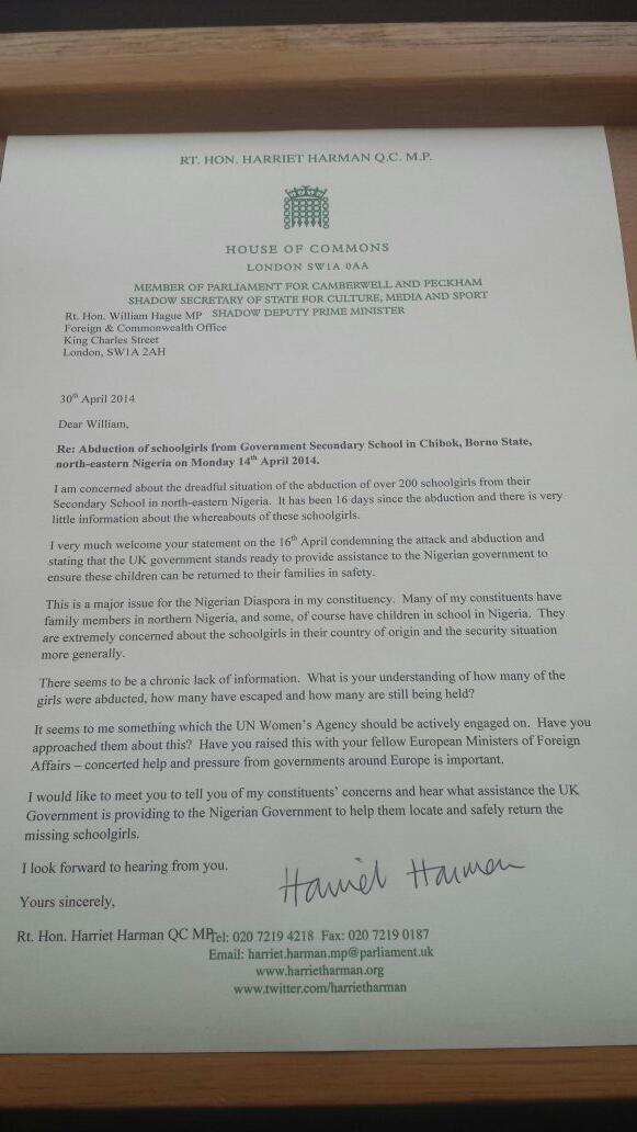 #BringBackOurDaughters #BringBackOurGirls Our govt must do all it can to help. My letter to Foreign Sec http://t.co/BqlAmaQvOk