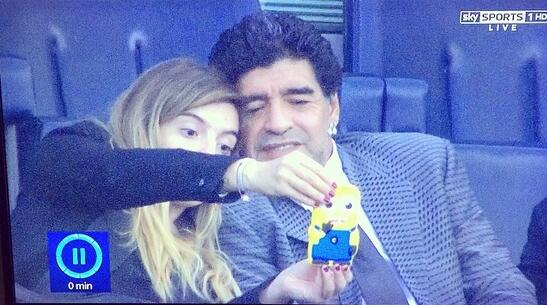 Diego & Dalma Maradona took a selfie during Chelsea v Atletico Madrid [Before & After Pictures]
