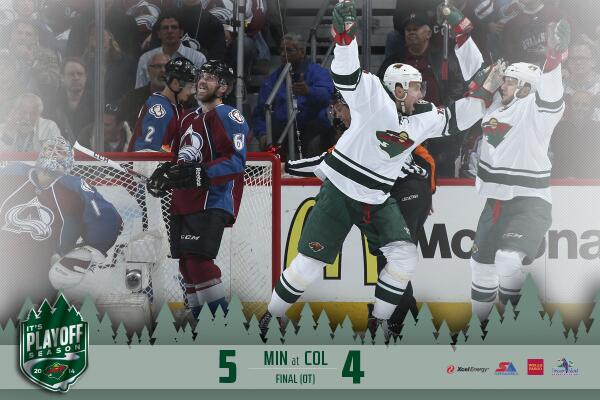 #mnwild is WINDY CITY bound! Epic Game 7 win, 5-4, @thelnino25 with GWG 5:02 into OT. #itsplayoffseason http://t.co/O4iGNceduR