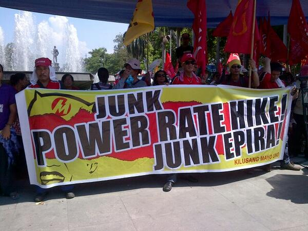 Meralco-Aquino, ganid sa tubo!  No to power rate hike! #May1Fight http://t.co/Fc8V0RS5tR