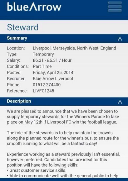 Oh dear! Advert emerges for stewards to work at Liverpools title winning parade