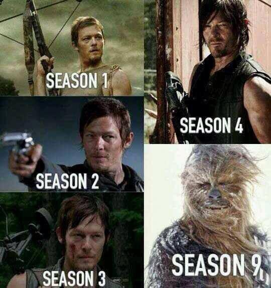 Évolution de la coupe de cheveux de Daryl Dixon au fil des saisons de The Walking Dead ^^ http://t.co/d1EJQh0hUo