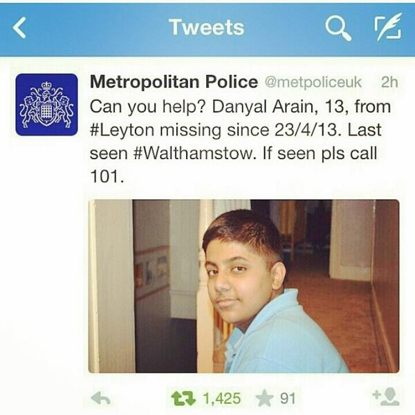 Media & Music friends. You have to share this. The young boy is missing. RT. Imagine how his family must be feeling? http://t.co/SoRDcvPQjW