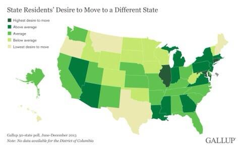 Map showing how badly people want to get the hell out of their state. Oregon residents are quite content. http://t.co/XvBeePLGTb