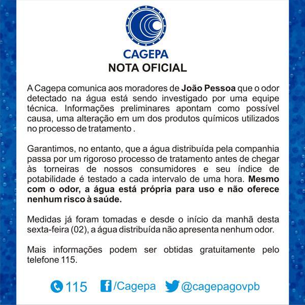 Nota oficial sobre odor na água de João Pessoa: http://t.co/3aXn4bPYOC