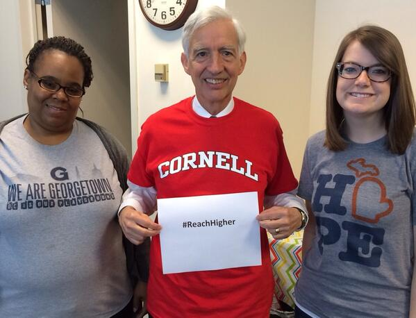 Excited to share our college pride and encourage young minds to #ReachHigher! Thanks @FLOTUS for your leadership! http://t.co/8YXJbVKfGD